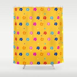 Colorful Floral Pattern on light Orange Background Shower Curtain