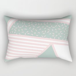 Modern Memphis Illustration - Gemetrical  Retro Art in Pink and Mint -  Mix & Match With Simplicity Rectangular Pillow