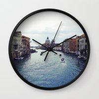 venice Wall Clocks featuring Venice by Rhianna Power