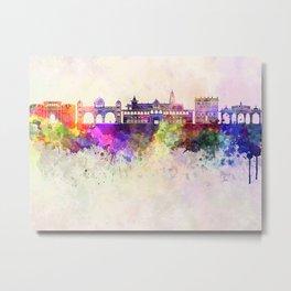 Pune skyline in watercolor background Metal Print