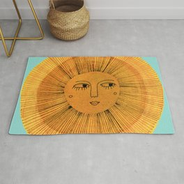 Sun Drawing Gold and Blue Rug