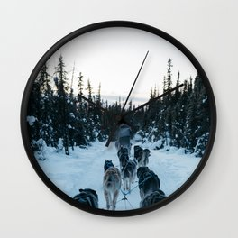 SNOW - HUSKIES - SLED - FOREST Wall Clock