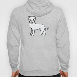 Cute White Boxer Dog Cartoon Illustration Hoody