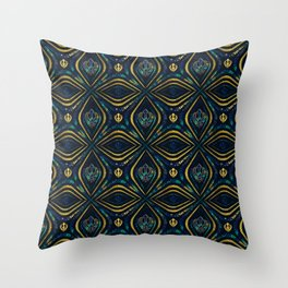 Khanda symbol pattern marble and gold Throw Pillow