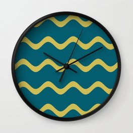 Dark Yellow Simple Soft Rippled Horizontal Line Pattern on Tropical Dark Teal Inspired by Sherwin Williams 2020 Trending Color Oceanside SW6496 Wall Clock