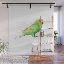 Geometric green parakeet Wall Mural