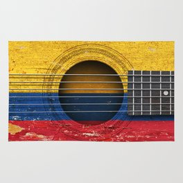 Old Vintage Acoustic Guitar with Colombian Flag Rug