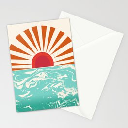 Keepin' It Real - retro 70s vibes throwback ocean sunset sunrise socal surfing beach life 1970's Stationery Cards