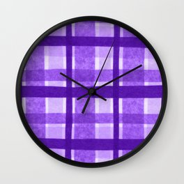 Tissue Paper Plaid - Purple Wall Clock