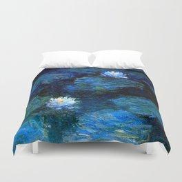 monet water lilies 1899 Blue teal Duvet Cover