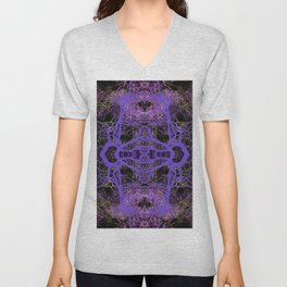 196 - Purple Trees night abstract design Unisex V-Neck