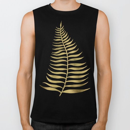 Golden Palm Leaf Biker Tank
