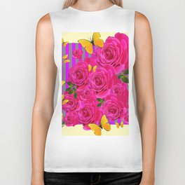 PINK GARDEN ROSES & YELLOW BUTTERFLIES MODERN ART FROM SOCIETY6   BY SHARLESART. Biker Tank