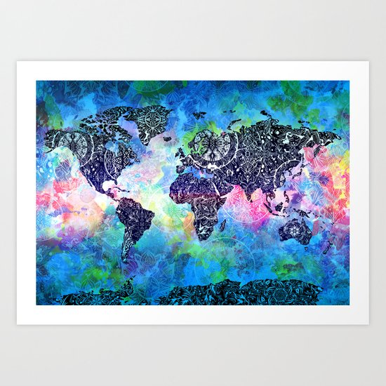 world map mandala watercolor Art Print