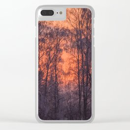 Winter Scene - Frosty Trees Against The Sunset #decor #society6 #homedecor Clear iPhone Case