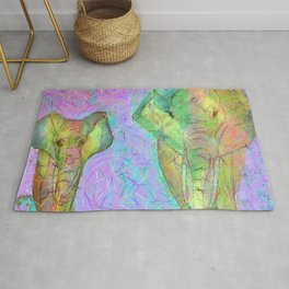 Colored elephants Rug