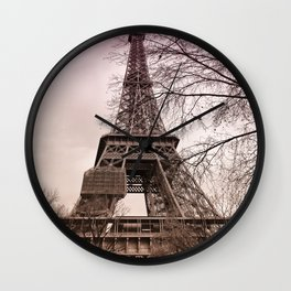 Pink sunset at the Eiffel tower in Paris Wall Clock