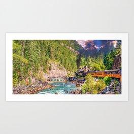 Vintage Mountain Train Panorama - Durango and Silverton Railroad Art Print