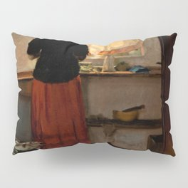 Anna Ancher - Girl In The Kitchen - Digital Remastered Edition Pillow Sham