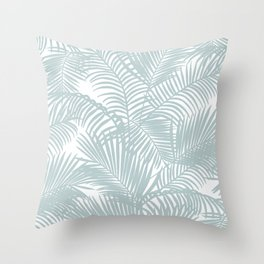 Pastel green modern tropical floral palm tree pattern Throw Pillow