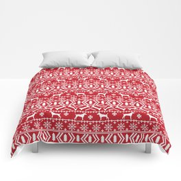 Jack Russell Terrier fair isle christmas sweater dog breed pattern holidays red and white Comforters