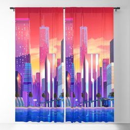 Synthwave Space #19: Neon City (pixelart) Blackout Curtain