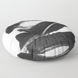 Black Brushstrokes Abstract Ink Painting Floor Pillow