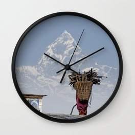 WOOD CARRIER AND MACHAPUCHARE IN NEPAL Wall Clock