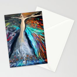 Mother Nature in Autumn Red Stationery Cards