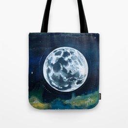 Full Moon Mixed Media Painting Tote Bag