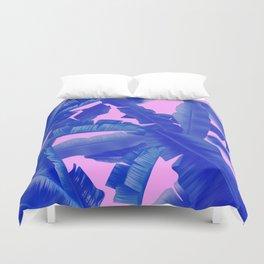 tropical banana leaves pattern,pink,blue Duvet Cover