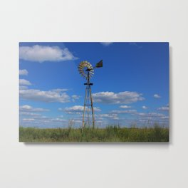 Kansas Country Windmill in a Pasture Metal Print