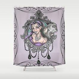 Esmeralda gipsy tattoo flash Shower Curtain