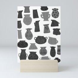 Black + Grey Pottery on White Mini Art Print
