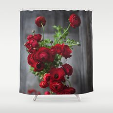 Red, Red Ranunculus Shower Curtain