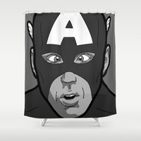 secret life Shower Curtains featuring The secret life of heroes - Photobooth2-3 by Greg-guillemin