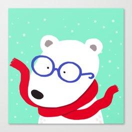 Hipster Polar Bear Canvas Print