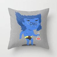 beast Throw Pillows featuring Beast by Rod Perich