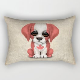 Cute Puppy Dog with flag of Canada Rectangular Pillow