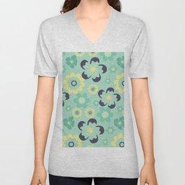 Blue pattern flower Unisex V-Neck