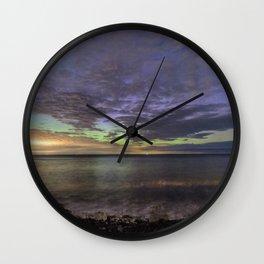 Cloudy Aurora on the beach Wall Clock