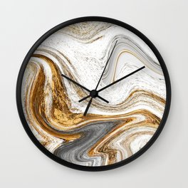 Gold, White, and Gray Abstract Painting Wall Clock