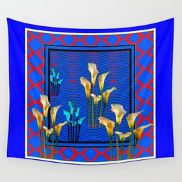 Blue Art White Calla Lilies Red Patterns Wall Tapestry