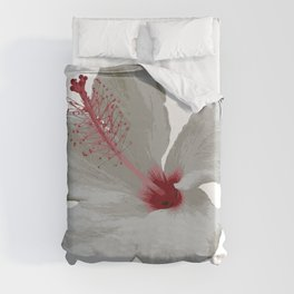 Pure White Hibiscus Tropical Flower Duvet Cover