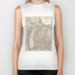 Vintage Map of Michigan (1893) Biker Tank
