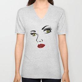 Woman Face Woman Motif Lips Eyes Face Unisex V-Neck