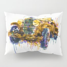 Oldtimer Automobile Watercolor Painting Pillow Sham