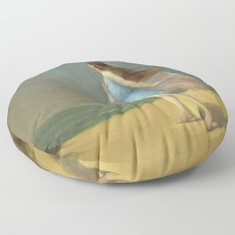 Girl on the Beach; lonely solitary female figure coastal portrait painting by Frank Richards Floor Pillow