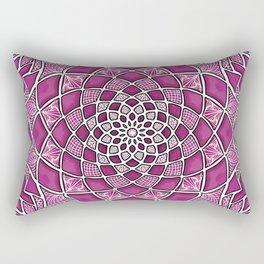 12-Fold Mandala Flower in Pink Rectangular Pillow