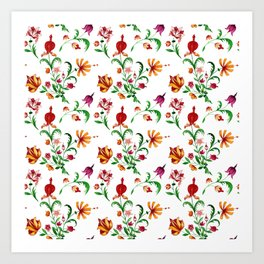 Seamless pattern of a variety of elegant flower bouquets on a white background Art Print